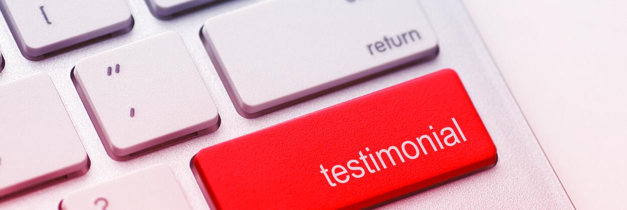 red testimonial button